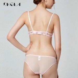 Image 4 - 2020 אופנה פרחי רקמת הלבשה תחתונה סט תחרה כחול שקוף תחתוני סט נשים סקסי הולו מתוך לראות דרך חזיית ורוד