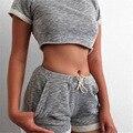 2016 nuevo estilo de moda de verano las mujeres casual recortada camisetas de manga corta tops sexy shorts dos piezas conjuntos trajes chándales PJ660