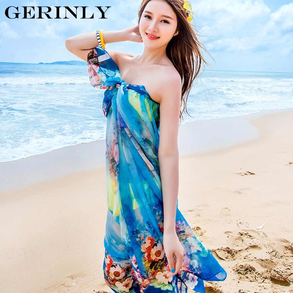 6d5f1c90eab ... GERINLY Beach Sarong Scarves Women Chiffon Wrap Blossoms Print Swimsuit  Cover Up Bikini Scarf Pareo Dress ...