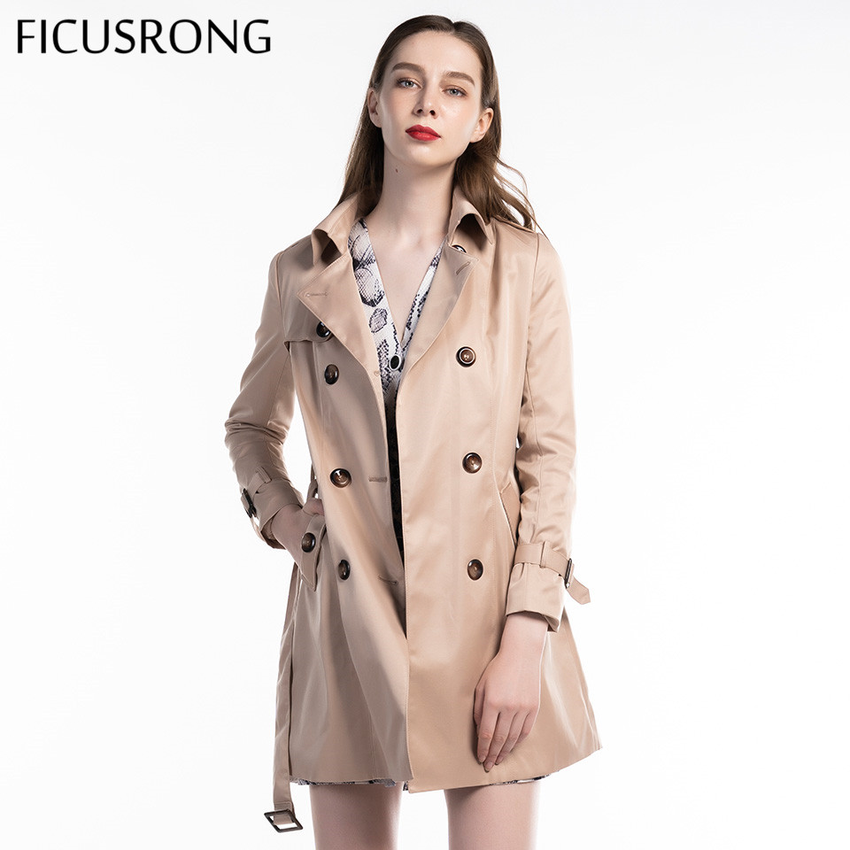 2019 New Fashion Autumn Women Slim V Neck Chic Coat Medium Long Solid Color Trench With Belt Double Breasted Outwear FICUSRONG