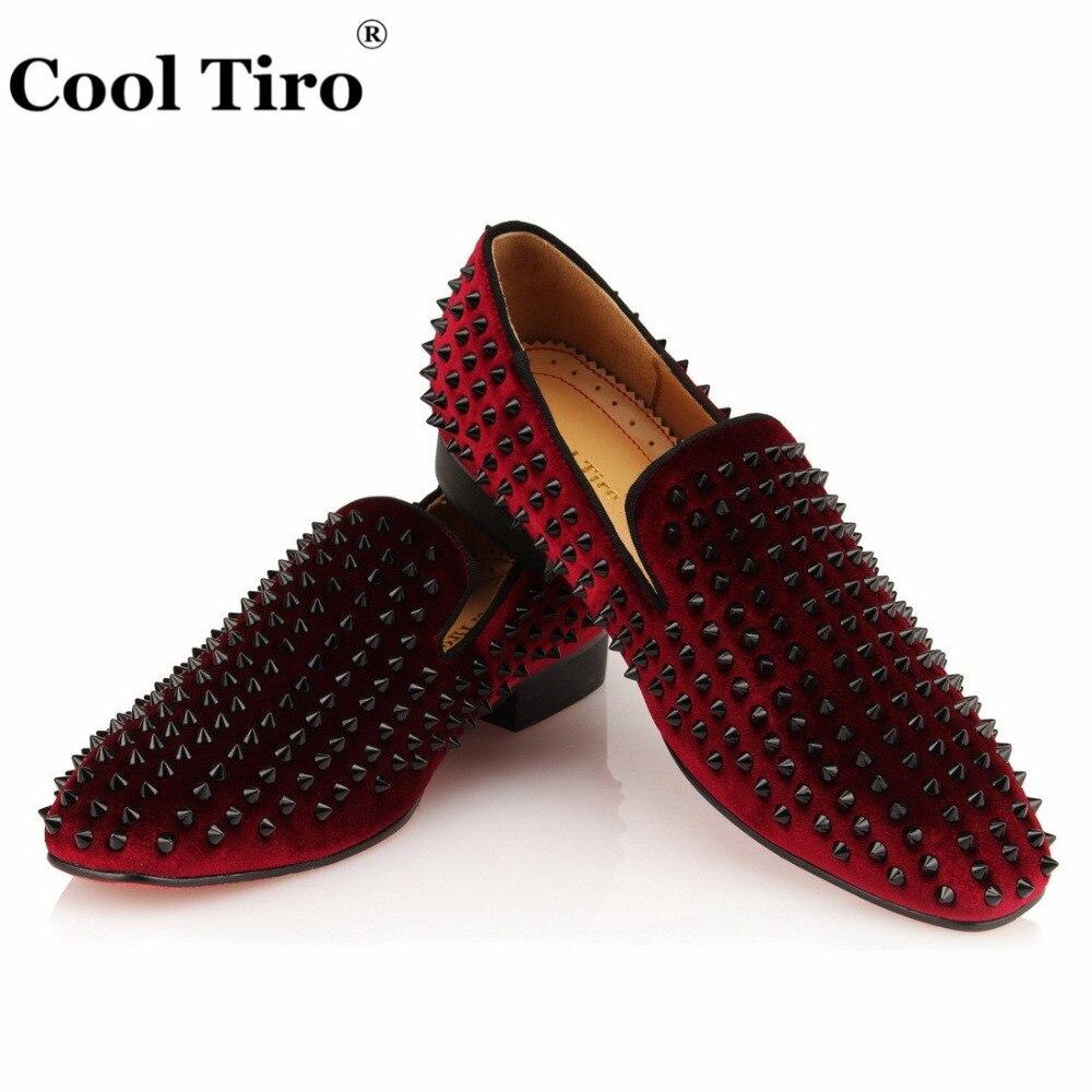 COOL TIRO Black Spikes Loafers Men Flats Moccasins Burgundy Velvet Smoking Slipper Wedding Mens Dress Shoes