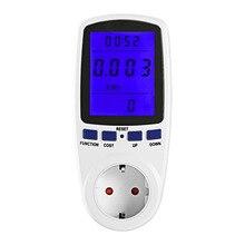 ЕС Plug 230 В 50 Гц Подсветка ЖК-цифровой дисплей ватт Напряжение тока анализатор Электроэнергии Измеритель мощности синий светильник