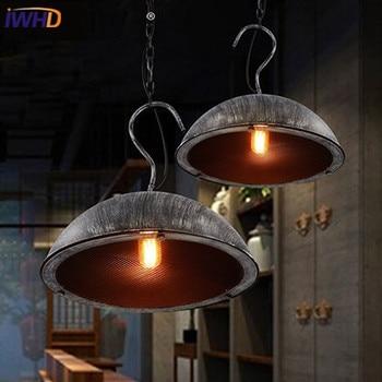 IWHD żelaza stara lampa Loft w stylu Vintage wisiorek oprawy oświetleniowe salon Cafe sypialnia kuchnia oświetlenie domu HangLamp Lustre