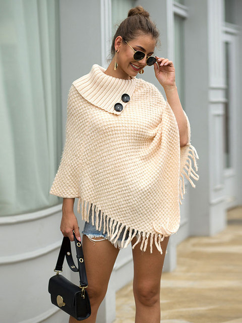 HEE GRAND New Women Wraps 2019 Fashion Tassels Cloaks Autumn Half Sleeve Knitted Pullovers Turn Down Collar Sweaters WZL1502 10