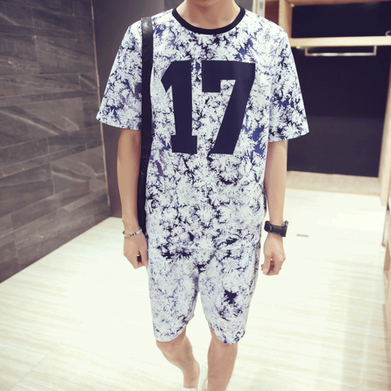 Summer Two Piece Set Men Printing Short Sleeve T-shirt Tracksuit Casual Sportswear Tops Short Trousers Plus Size 5XL Outwear