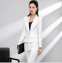 2018 big size  Autumn White Elegant Women Business Suits Women's OL Tops+Long Pants Office 2 Piece Sets Ladies Formal Work Wear