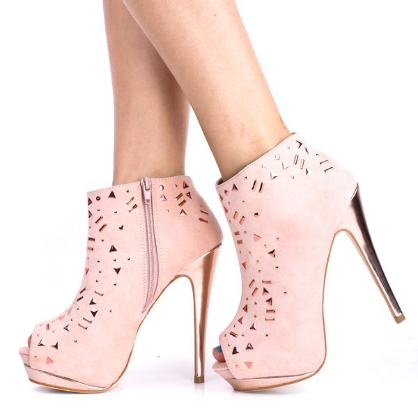 Light Pink Peep Toe Boots For Women Rhinestones Ankle High Short Ladies  Boots High Heels Platform Side Zipper Plus Size 14-in Ankle Boots from Shoes  on ... ee957be4ca