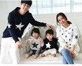 A la venta 2016 del otoño y el invierno de algodón con capucha estrella activo juego de ropa ropa de la familia establece madre e hija familia mirada