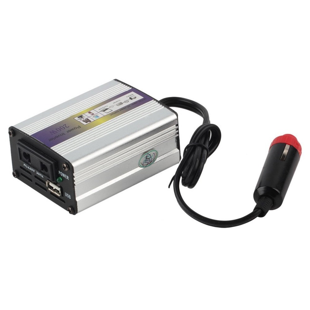 Portable Car Charger 200W WATT DC 24V to AC 220V 50 Hz Car Power Inverter Converter Transformer Power Supply цена и фото