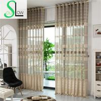 Slow Soul Gray Card Jacquard Curtain Fabric Hollow Bedroom Living Room Decoration Floral Europe Tulle Curtains