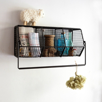 Grocery Retro Iron Wall Grid Shelves Home Decoration Shelves Metal Towel Rack Storage Holder