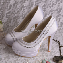 Wedopus Пользовательские Ручной Белый Sexy Высокий Каблук Женщины Свадебная Обувь Двухместный Платформа Челнока