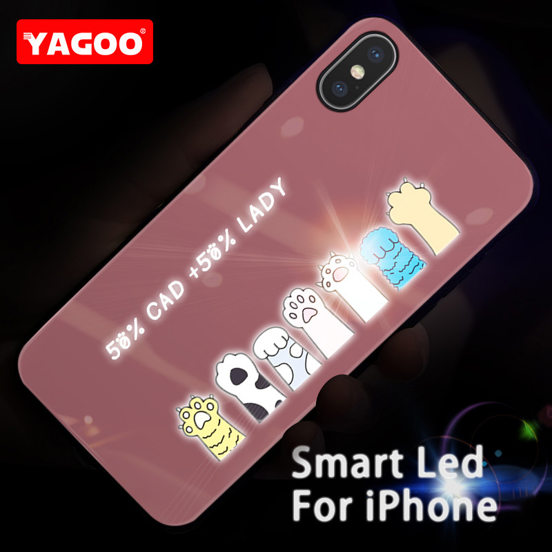 Yagoo Smart Led Glow Phone Case For iPhone XS MAX Case Cover For Apple iPhone XR Funda Luxury Silicone TPU Cute Patterned Glass in Fitted Cases from Cellphones Telecommunications