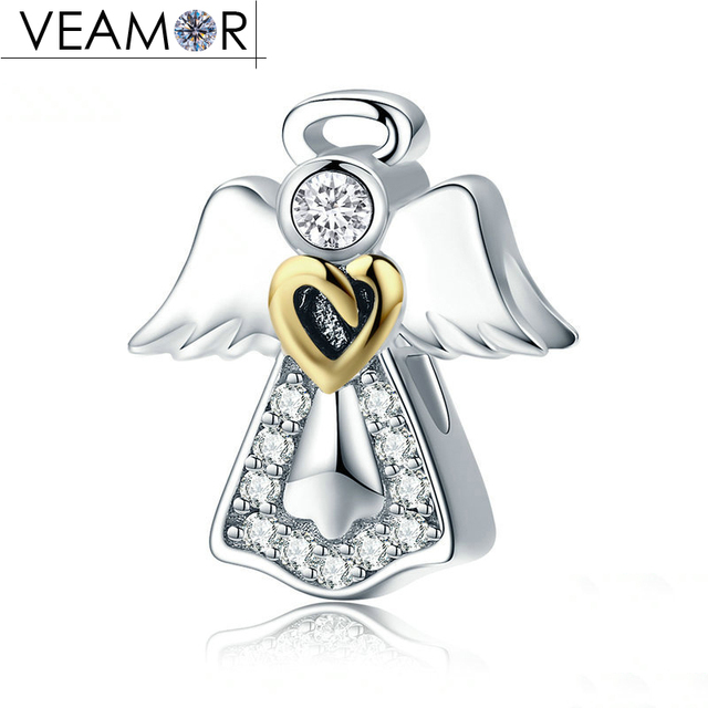 Veamor 925 Sterling Silver Gold Color Heart Guardian Angel Charms Beads Fit Pandora Charm Bracelets