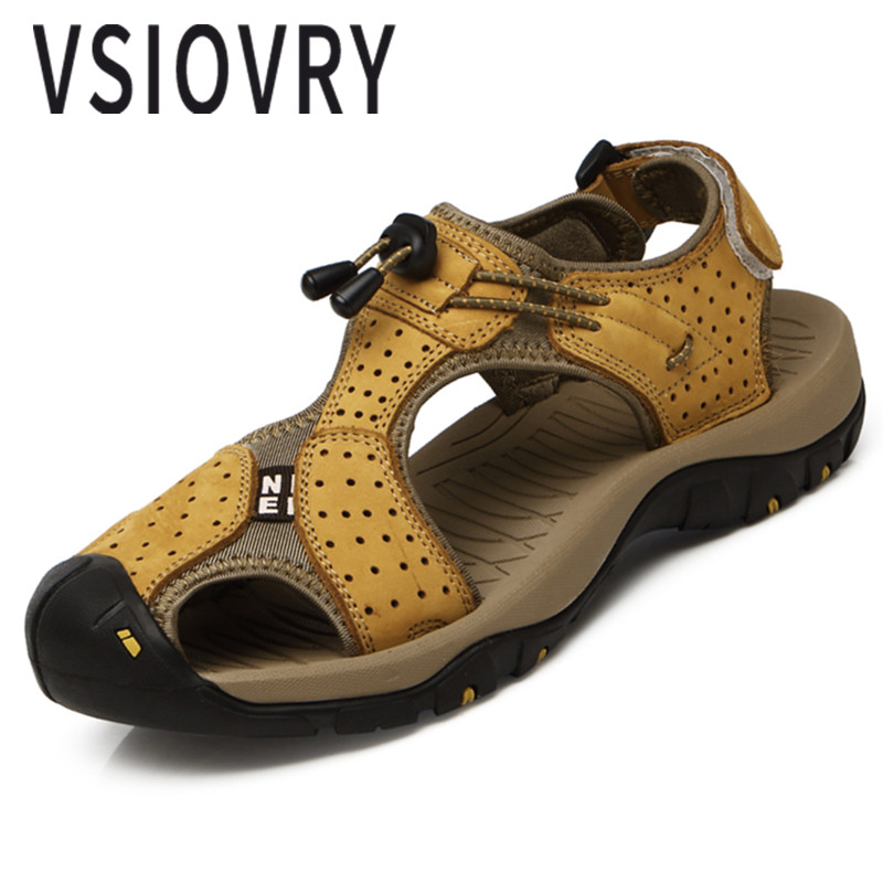 VSIOVRY 2018 Men Leather Sandals Summer Handmade Casual Flats Shoes Beach Sandals Soft Moccasins Male Sandalias Big Size 38-45