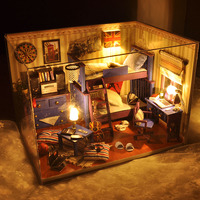 2016 New Home Decoration Crafts Diy Doll House Wooden Houses Miniature Dollhouse Furniture Kit Room Items Led Lights Gift Tw4