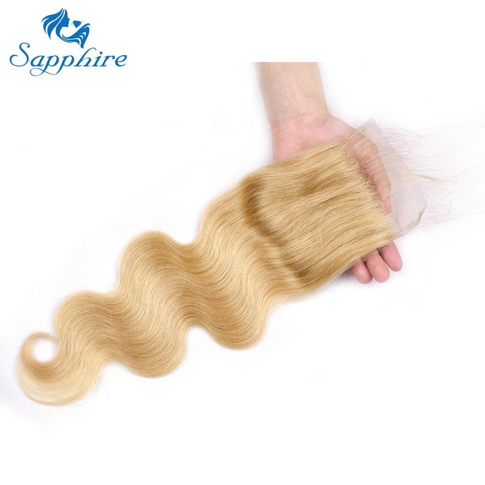 Сапфир бразильский Мёд светлые человеческого тела волна волос предварительно Цвет ed человеческих волос 4x4Lace закрытие 8-20 дюймов pure 27 Цвет Бе...