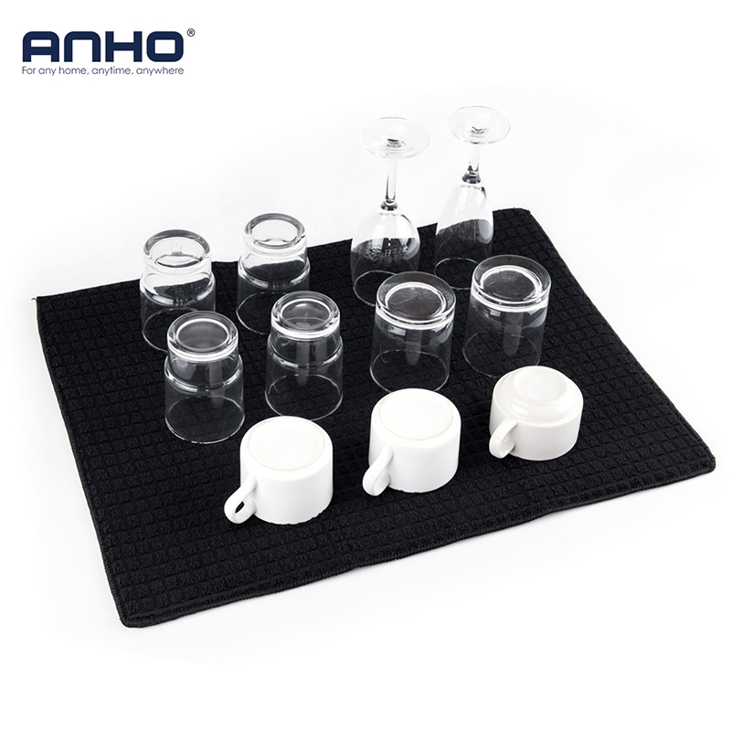 ANHO Dish Drying Mat 15x20 Inches For Kitchen Cup Bottle Tableware Bar Cushion Pad Rectangle Black Table Decoration Polyester