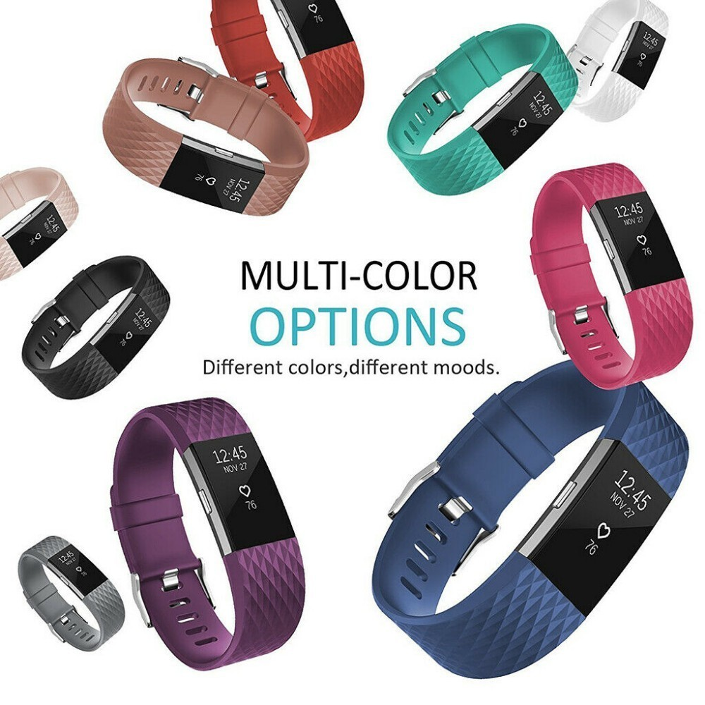 Coolaxy 3D Straps For Fitbit Charge 2 Band Silicone Replacement Loop Watch Bracelet For Fitbit Charge2 Band Wristband Strap