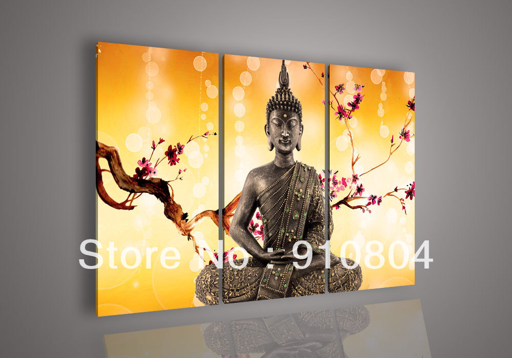 Framed 3 Panels High End Large Orange Wall Art Buddha Paintings Canvas Picture Fengshui Home Decor L1271 - 99$ store