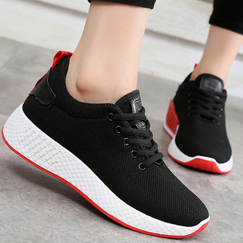 все цены на Comfortable Women Sneakers Air Mesh spring/autumn Shoes Solid black/white/pink Female Shoes Zapatillas Mujer Plus Size 34-40