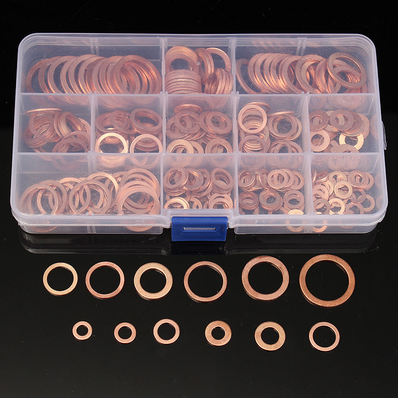 200/280Pcs Copper Sealing Washer Solid Gasket Sump Plug Oil For Hardware Accessories Boat Crush Washer Flat Seal Ring Tool Kit