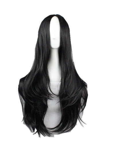 Black Wig Fei-Show Synthetic Heat Resistant Fiber Carnival Perruque Long Wavy Middle Part Line Hair Female Salon Hairpiece