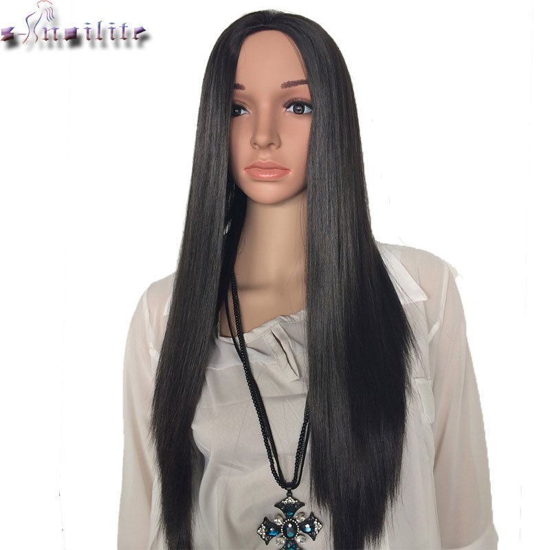 S-noilite Long Half Wigs 300g Natural Straight Synthetic Half Wigs For Women Natural Hairpieces Heat Resistant Hair
