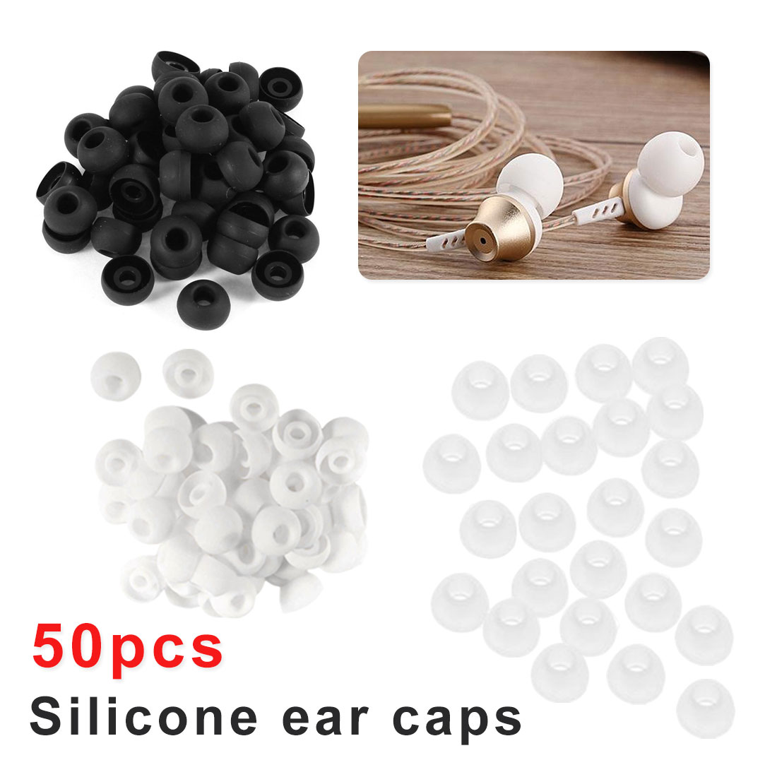 Accessories Telephone 50pcs/lot Soft Silicon Ear Tip Cover Replacement Earbud Covers For In-Ear Headphones Earphones