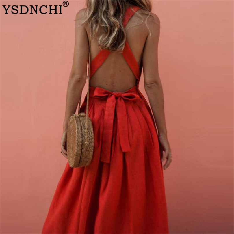 YSDNCHI Backless Bow Summer Red ress Women <font><b>Elegant</b></font> Button Square Collar Loose Beach <font><b>Sexy</b></font> <font><b>Dress</b></font> <font><b>XXXL</b></font> Holiday Party <font><b>Dress</b></font> Ladies image