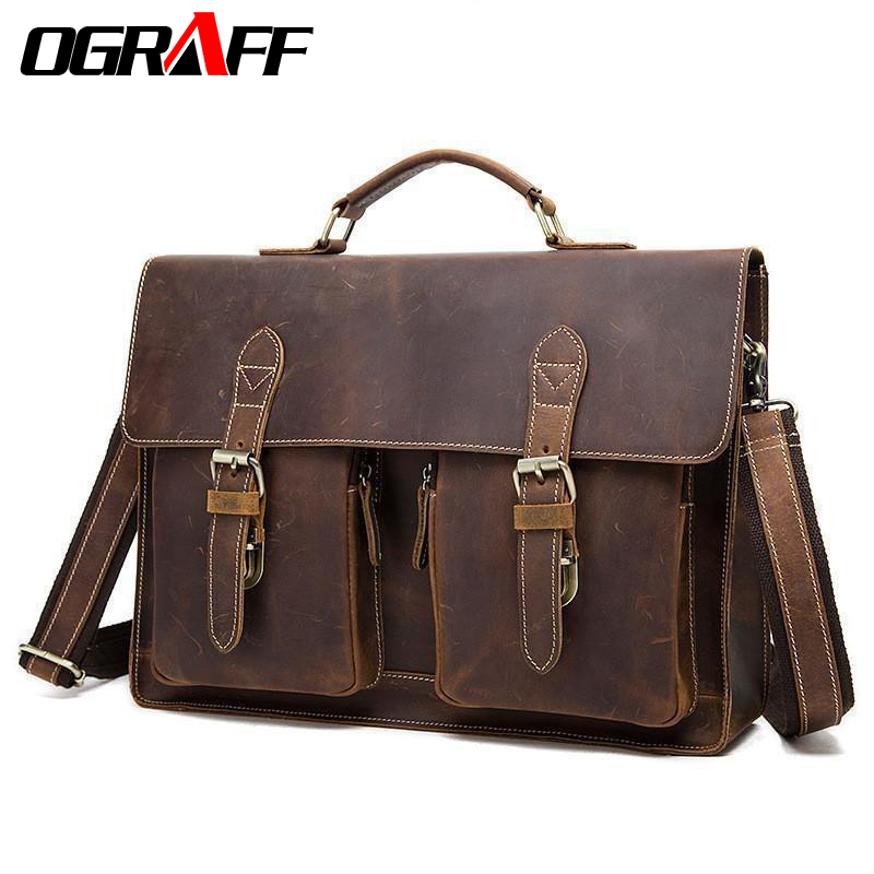 OGRAFF Genuine Leather Men Bag Handbag Men's Briefcases Male Messenger Shoulder Crossbody Bags Vintage Business Laptop Bag tote ograff genuine leather bag men messenger bags handbag briescase business men shoulder bag high quality 2018 crossbody bag men
