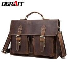 hot deal buy ograff genuine leather men bag handbag men's briefcases male messenger shoulder crossbody bags vintage business laptop bag tote