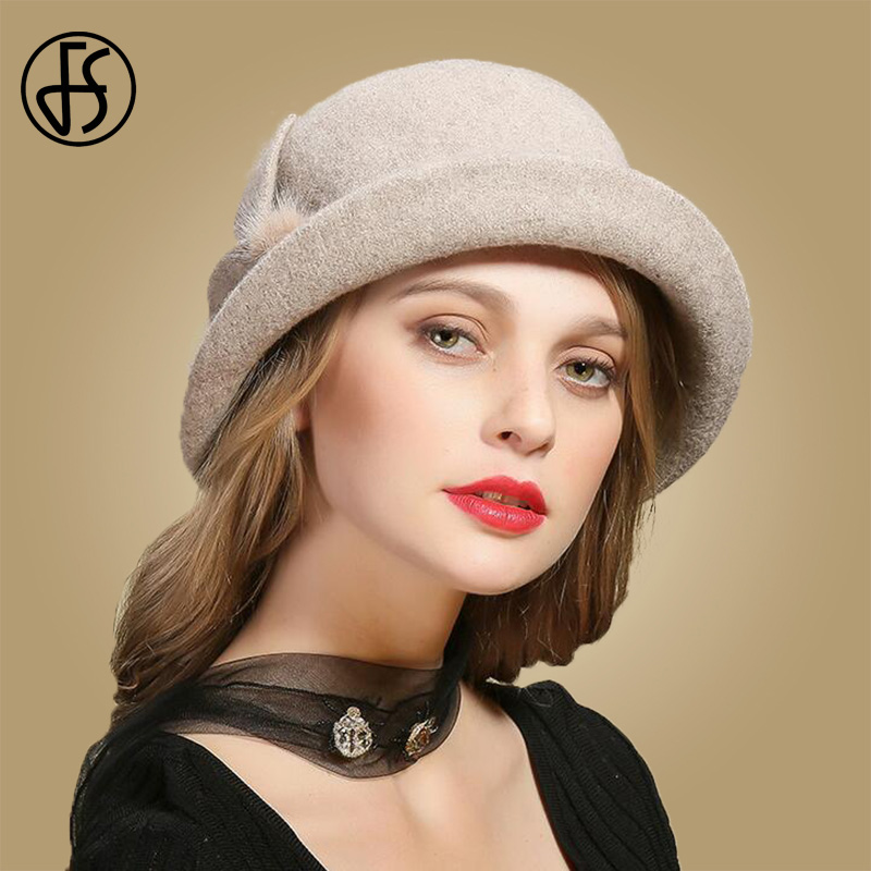 e38bbb5c0bea7 Detail Feedback Questions about FS Winter Black Wool Hats For Womens Wide Brim  Fedora Vintage Felt Hats With Flower Fur Ladies Cloche Bowler Elegant Church  ...