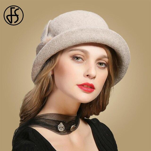 a9a4f1f6352 FS Winter Black Wool Hats For Womens Wide Brim Fedora Vintage Felt Hats  With Flower Fur Ladies Cloche Bowler Elegant Church Cap