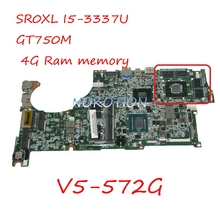 Main board DA0ZQKMB8E0 NBMAL11001 NB.MAL11.001 laptop motherboard For acer Aspire V5-572G SR0XL I5-3337U GT750M 4G Ram memory