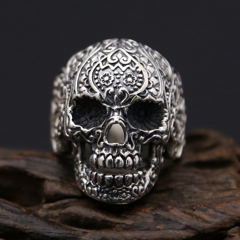 Cool 925 Sterling Silver Skull Ring Men Ring Punk Rock Mens Gothic Vintage Rings for Boy Punk Fashion Cosplay Halloween Jewelry