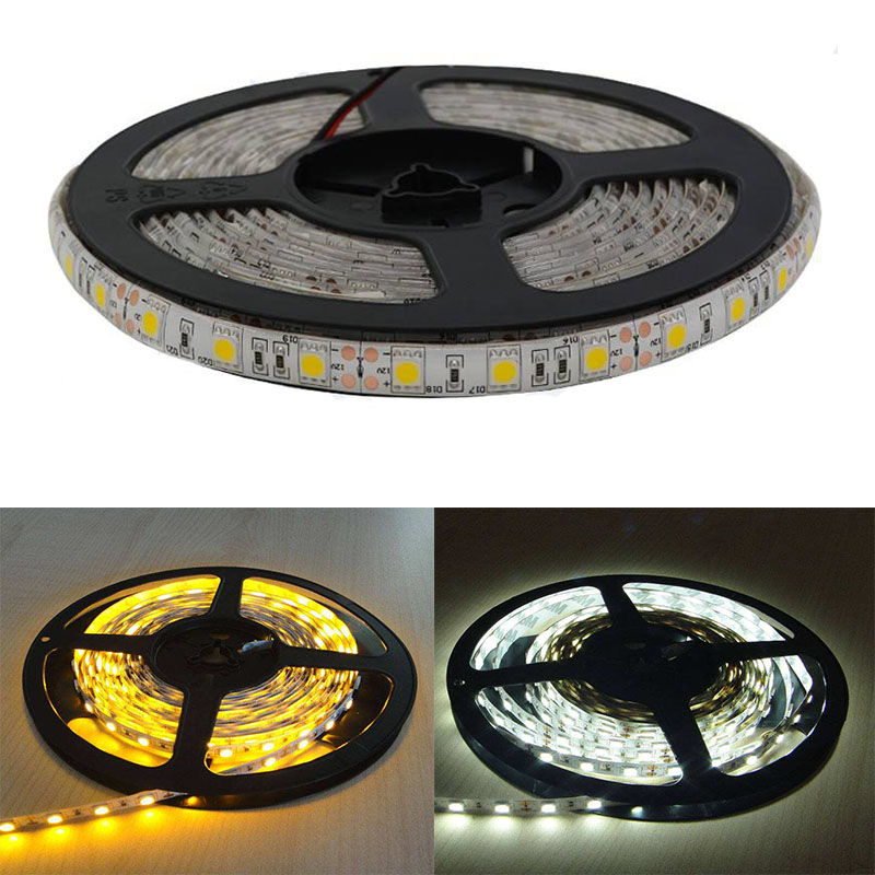 Maidodo 5M 5050 LED Light Strip SMD DC 12V Waterproof Fllexible Warm White Cool White Lamp For Indoors And Out Doors zdm waterproof 72w 200lm 470nm 300 smd 5050 led blue light strip white grey dc 12v 5m