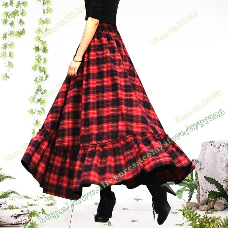 2017 Plus Size 5XL XXXXL Autumn and Winter Red Lattice Plaid Ruffle Wool Woolen designs female