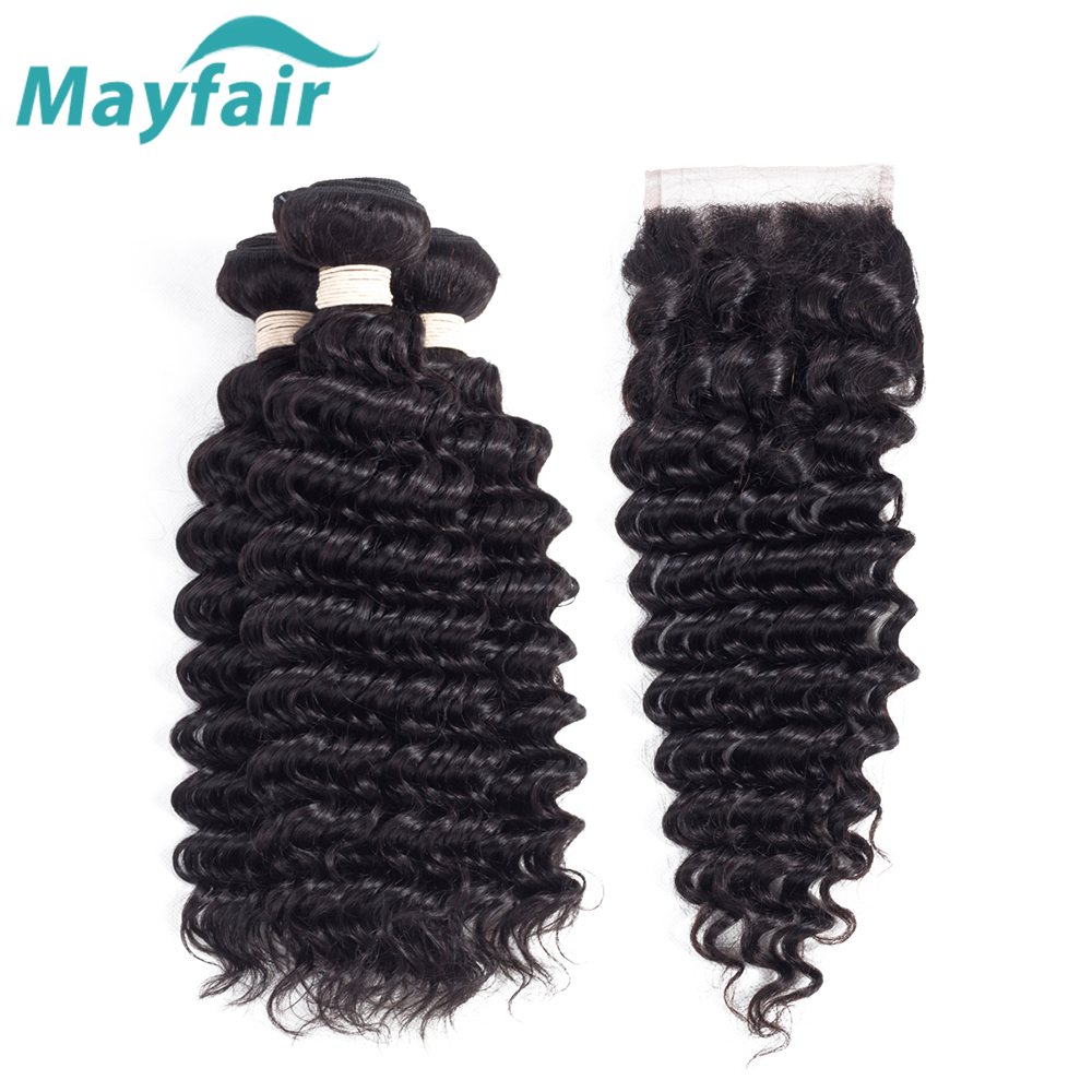 Mayfair Hair Brazilian Deep Wave With Closure 3 Bundles Human Hair Weave With Closure Deep Wave Human Hair Remy Hair Extension