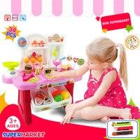 Alta qualidade 34 pcs pretend play mini supermercado caixa registradora carrinho de compras toys definir presente para as crianças frete grátis