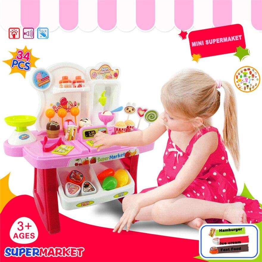 High Quality 34pcs Pretend Play Mini Supermarket Cash Register Shopping Cart Toys Set Gift For Kids Free Shipping