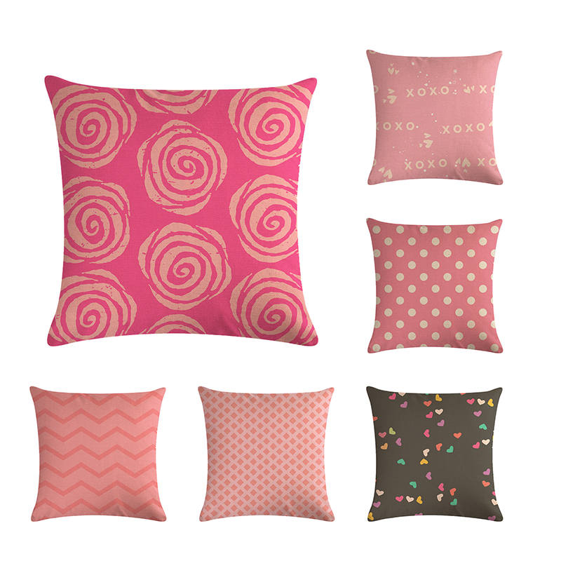 Pink Flower Cushion Cover Geometric Stripes Dot Arrow Wave Sanjiao Pillow Cover Bedroom Decoration 45 * 45CM Cushion ZY434