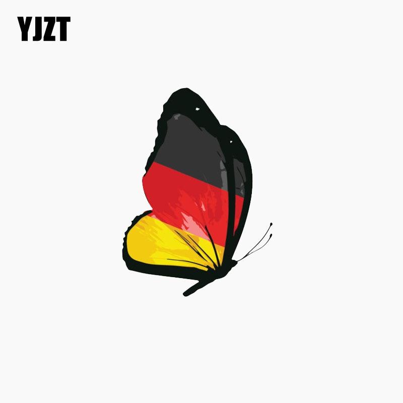 YJZT 8,2 см * 11,2 см, Германия, флаг, Бабочка, автомобильная Наклейка на окно, светоотражающая фотография, аксессуары
