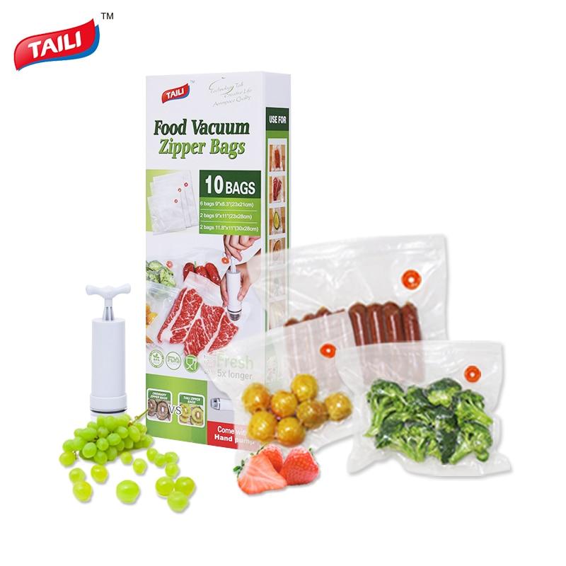 Kitchen Vacuum Bag For Food With Pump Vacuum Sealer Bags Plastic Zip Bag Keep Food Fresh/ Reusable / BPA Free Antibacterial