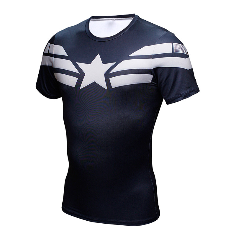 Captain American T shirts 3D Printed Compression Bodybuilding Fitness T-shirts High Quality Quick Dry Slim 2017 Tops ZOOTOP BEAR