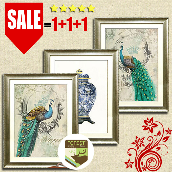 Chinese Home Decor Painting Art Classic Peacock Blue And White Porcelain Vase Simple Luxury Eastern Canvas