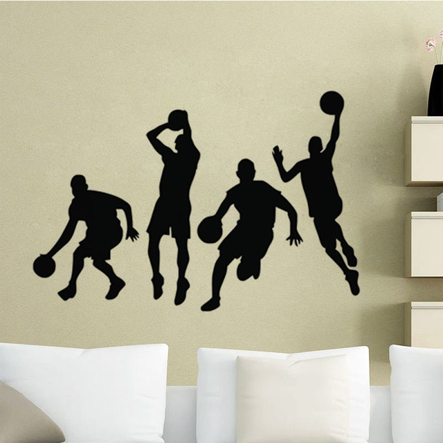 EHOME 4 Basketball Players Wall Stickers For Kids Bedroom Decorative  Stickers Sport Wall Decals Vinyl Adhesive Part 83