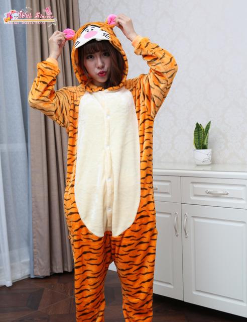 Saltar Tigger Animal del sueño salón Jumpsuit Pijamas más tamaño ocasional Pijamas Pijama Onesies para mujeres adultos disfraces barato de Cosplay