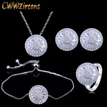 CWWZircons 4 Piece Fashion Ladies Accessories Silver Color Round Cubic Zirconia Women Jewelry Sets Best Friends Gift T034(China)