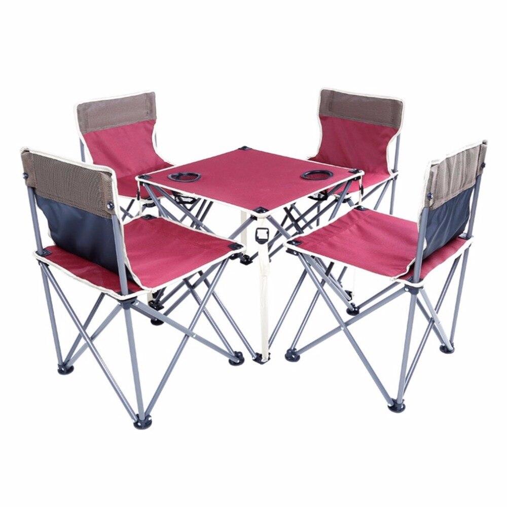 mesa y silla de playa plegable porttil cinco sets borgoa diseo integrado de alta estabilidad para